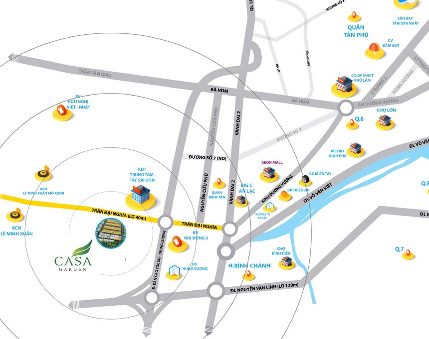 Vị trí giao thông thuận tiện của Casa Garden