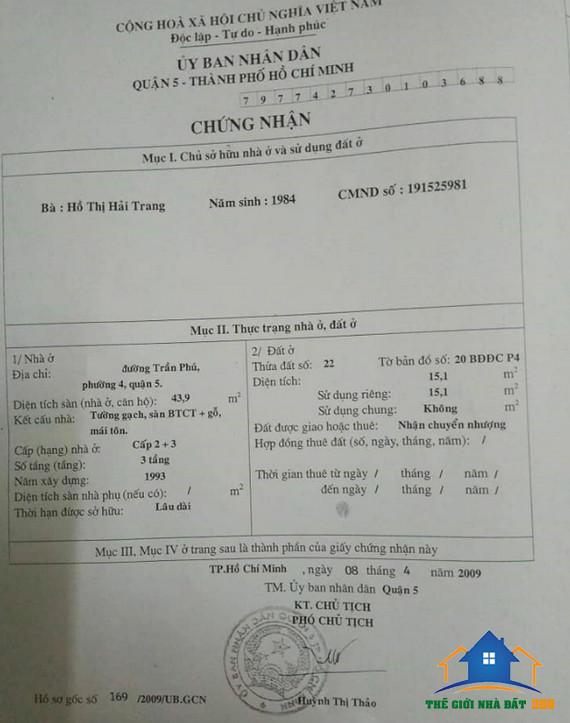Bán Nhà Quận 5: Bán Nhà Đường Trần Phú Phường 4 Quận 5 TPHCM hẻm 3M