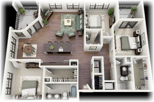 Mặt bằng nhà cấp bốn 1 tầng 3 phòng ngủ thông minh